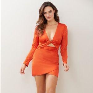 Tie Front Satin Mini Dress